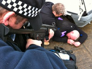 Tactical medicine training for police officers being run by Lazarus Training.